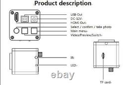 1080P 16MP HDMI USB Video Digital Industrial Microscope Camera TF Video Recorder