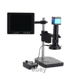 14MP HDMI Industry Digital Microscope Camera + Stand Mount Ring Lamp LCD Monitor