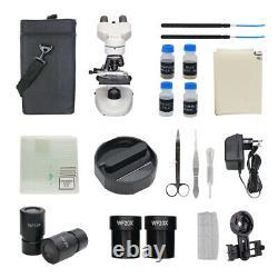 1600X Biological Microscope Binocular Digital Microscope with USB Camera Slides