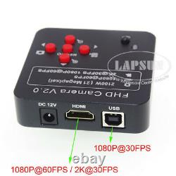 2K 1080P 60FPS 21.0MP HDMI USB Digital Industrial Microscope Camera + 360X Lens