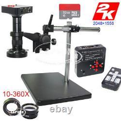 2K 1080P 60FPS HDMI USB Digital Industrial Microscope Camera + Universal Stand