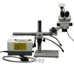 3.5X-90X Trinocular Stereo Zoom Boom Stand Microscope 3MP Camera Y&R Fiber Light
