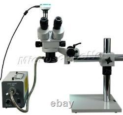 3.5X-90X Zoom Stereo Boom Trinocular Microscope w 150W Fiber Light 2MP Camera