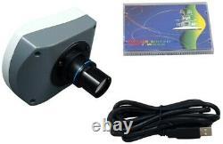 40-2000X Darkfield Brightfield Kohler 3W LED Microscope+5.0MP Digital USB Camera
