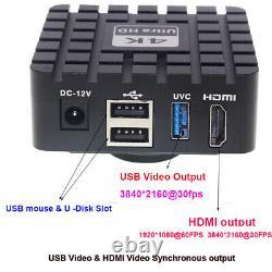 4K HDMI USB 3 Industrial Digital Video 20X-180X Lens Microscope Camera Measuring