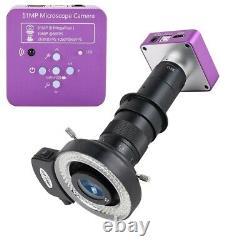 51MP 1080P FHD Digital Microscope 180X C-Mount Lens HDMI USB for Phone Repair