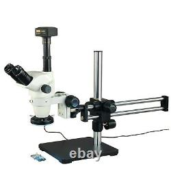 6.7-45X Zoom Stereo Microscope+144 LED Ring Light+Boom Stand+14MP Digital Camera
