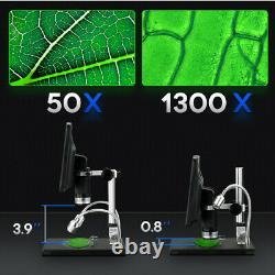 8.5 LCD 1080P 12MP Digital Microscope 1300X Zoom Camera Magnifier Rechargeable