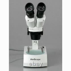 AmScope 10X-15X-30X-45X Binocular Stereo Microscope with Two Halogen Lights