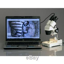 AmScope 20-40X Binocular Stereo Microscope Digital Camera Pillar Stand Multi-Use