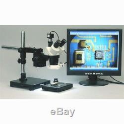 AmScope 20X-40X-80X Stereo Microscope on Boom Stand + 1.3MP Digital Camera