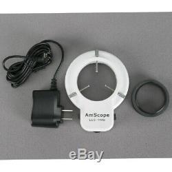 AmScope 3.5-180X Manufacturing Zoom Stereo Microscope 8MP Digital Camera 144-LED