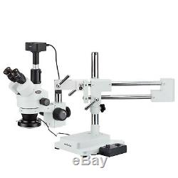 AmScope 3.5-90X Zoom Stereo Microscope + 144 LED Light + 5MP Digital Camera