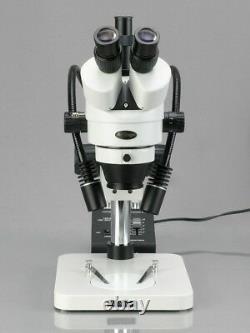 AmScope 3.5X-225X Digital Zoom Stereo Microscope w Gooseneck LED Lights + 5MP US