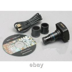 AmScope 3.5X-90X LED Zoom Stereo Trinocular Microscope 5MP Camera Multi-Use