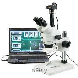 AmScope 3.5X-90X Zoom Stereo Microscope 3MP Digital Camera+144-LED Multi-Use Lab