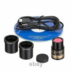 AmScope 40-2000X Binocular Compound Microscope 3D Stage+1.3MP Digital Camera LED