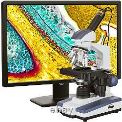 AmScope 40-2500X LED Digital Monocular Compound Microscope 3D Stage 1.3MP Camera