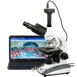 AmScope 40X-2000X Biological Compound LED Microscope + 8MP Digital Camera