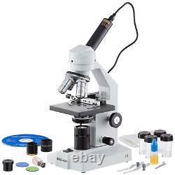 AmScope 40X-2000X Compound Microscope w Mech. Stage USB Digital Camera Multi-Use