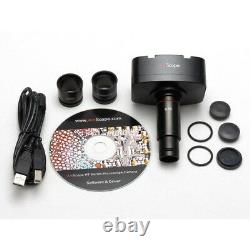 AmScope 40X-2000X Lab Trinocular Compound Microscope+5MP Digital USB Camera
