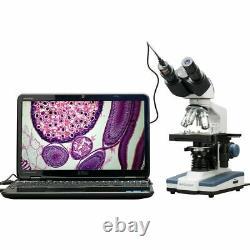 AmScope 40X-2500X Compound Binocular Microscope w 3D Stage, 1.3MP Digital Camera