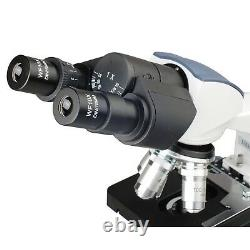 AmScope 40X-2500X LED Digital Binocular Compound Microscope, 3D Stage, 5MP Camera