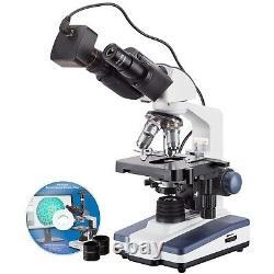 AmScope 40X-2500X LED Lab Binocular Compound Microscope with 3MP Camera