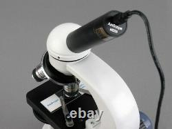 AmScope 40X-400X Student Metal Frame Microscope +1.3MP USB Digital Camera