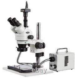 AmScope 7X-45X Trinocular Microscope+3MP Camera +Fiber Optic LED Light +XL Stand