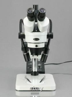 AmScope 7X-45X Zoom Stereo Microscope 5MP USB Camera Dual Gooseneck LED Lights