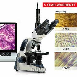 New SWIFT SW380T 40X-2500X Trinocular Compound Microscope with 5MP Digital Camera