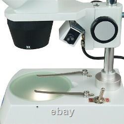 OMAX 20X-60X 5MP Digital Camera Binocular Stereo Student Microscope Dual Lights