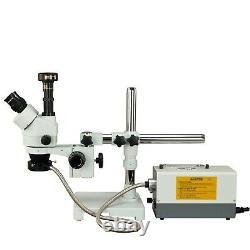 OMAX 3.5X-90X Boom Stand Stereo Microscope +Fiber Lights+9MP Digital Camera