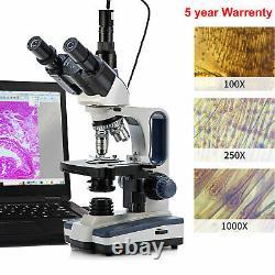 SWIFT Trinocular Compound Microscope 40X-2500X LED Digital Lab with 5MP Camera