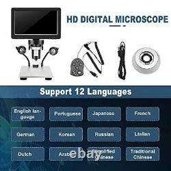 TTLIFE Digital Microscope 7'' HD Screen 12MP 1200X Camera 8 LED Light