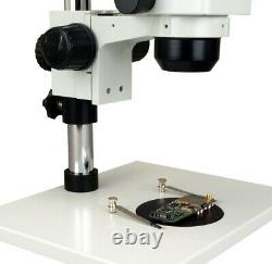 Trinocular Stereo Zoom Microscope 5-80X Large Table Stand+5MP Camera+54 LED Lite