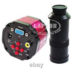 100x 2mp Digital Industrial Lad Microscope Vga Tv Av Camera + C-mount Lens Stand