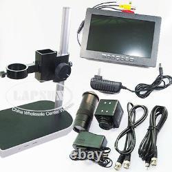 100x Digital Industrial Microscope Camera Bnc Av Tv + C Mount Lens + 7 Moniteur