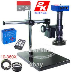 2k & 1080p Vidéo Hdmi Usb Digital Industrial Microscope Camera + Universal Stand