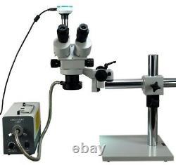 3.5x-90x Zoom Stereo Boom Trinocular Microscope W 150w Fiber Light 2mp Caméra