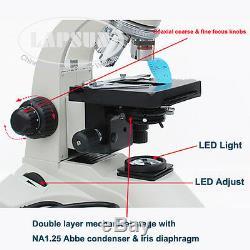 40x-1600x De Laboratoire Médical Microscope Trinoculaire Biologique + Appareil Photo Numérique Usb Hdmi