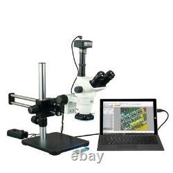6.7-45x Zoom Stéréomicroscope + 144 Led Light Ring + Boom Support + 14mp Appareil Photo Numérique