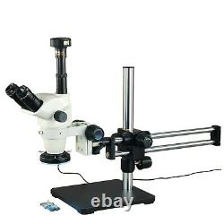6.7x-45x Zoom Stereo Microscope+144 Led Ring Light+boom Stand+9mp Appareil Photo Numérique