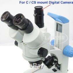 7x-45x Zoom Simul-focale Trinoculaire Stéréo Microscope Pour Appareil Photo Numérique C / Cs