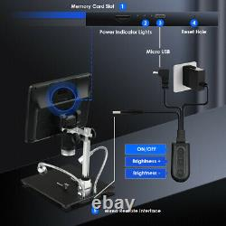 8.5 Inch 1080p Fhd 12mp Digital Microscope 1300x Zoom Camera Batterie Avec Télécommande