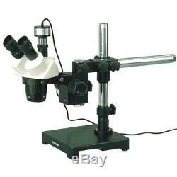 Amscope 10x-20x-30x-60x Stéréo Microscope Sur Boom Support + 1.3mp Appareil Photo Numérique