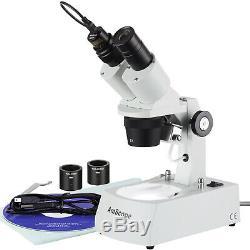 Amscope 10x-20x-30x-60x Stéréo Microscope Usb Avec Appareil Photo Numérique Haut / Bas Lumières