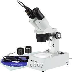 Amscope 20x-40x-80x Microscope Stéréo Avec 1.3mp Usb Appareil Photo Numérique
