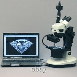 Amscope 3.5x-90x Jewel Avancée Gem Microscope + 1.3mp Appareil Photo Numérique